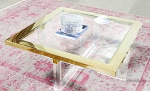 Gold and glass living room table