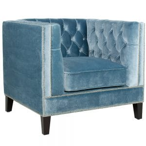 velvet covered armchair