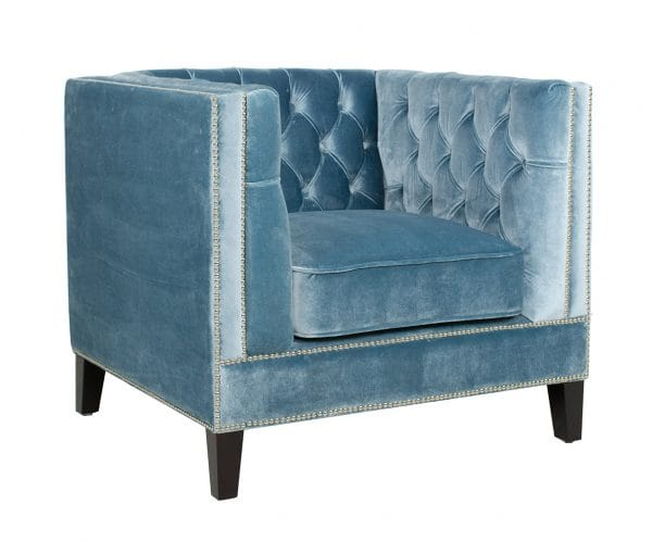 velvet covered armchair