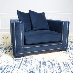 Navy Velvet Armchair