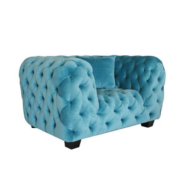 turquoise velvet tufted armchair