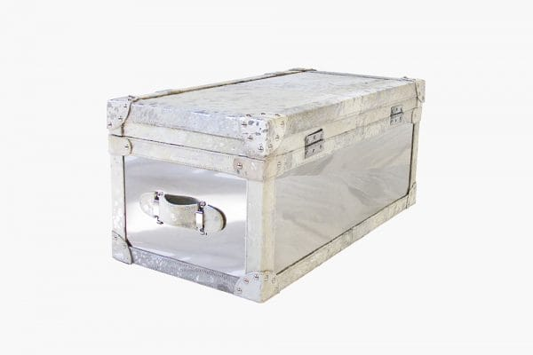 Forest Steel and Cowhide Silver Trunk