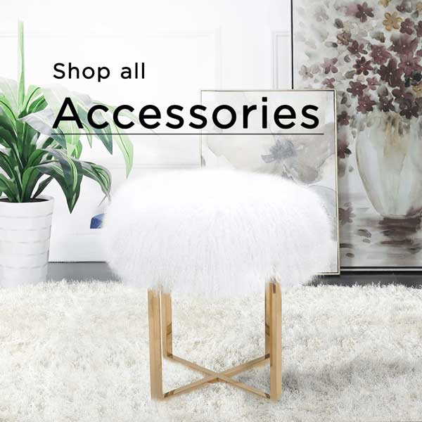 Shop all accessories white furry stool