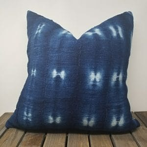 Blue indigo mud cloth pillow