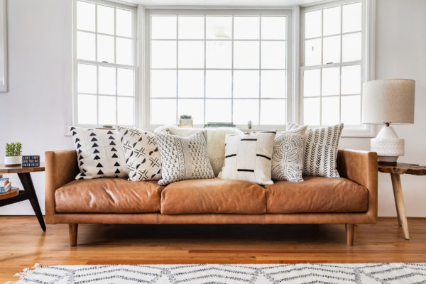 Living Room Sofa and Accent Pillows