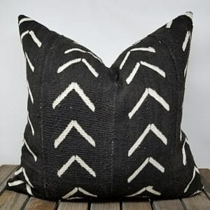 Black mud cloth throw pillow with large arrow pattern