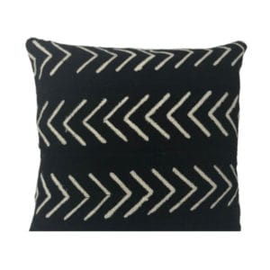 Black pillow with white pattern