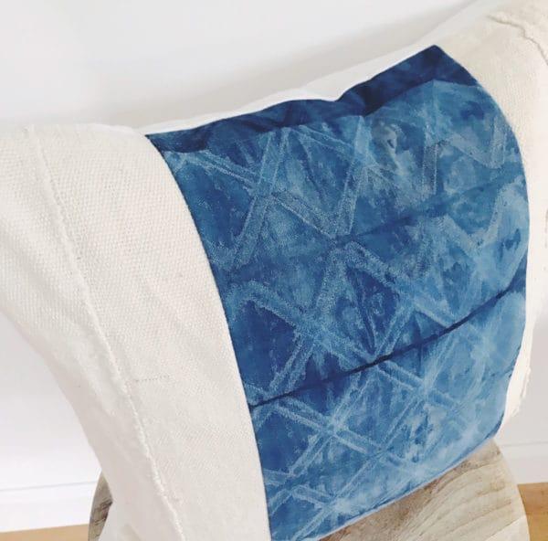 Close up of vivaan diamond pattern on pillow