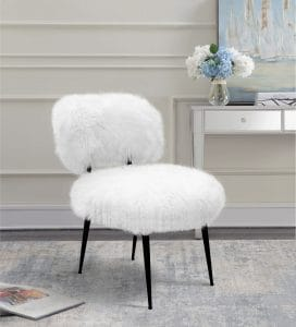 White Textured Accent Chair