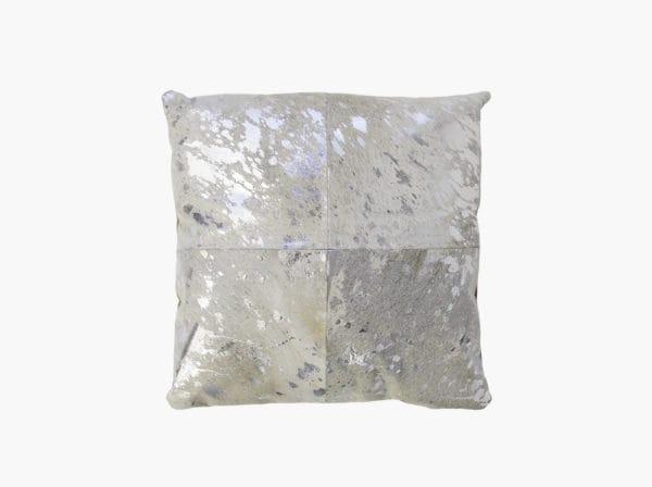 silver cowhide decorative pillow