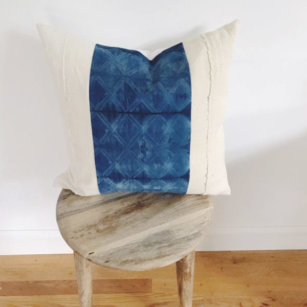 Throw pillow on stool
