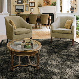 Olympia rug in furnished living room