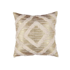 Gold throw pillow with diagonal design