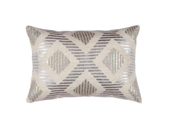 Rectangular throw pillow metallic design