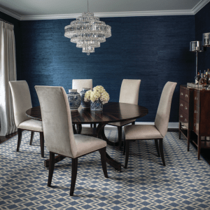 Dining room table with neutral cloth chairs
