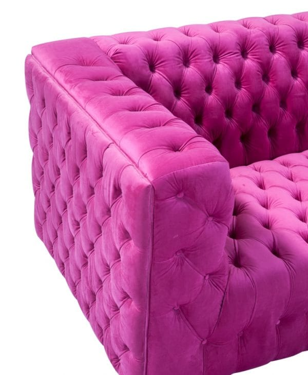 Side view of pink sofa seating