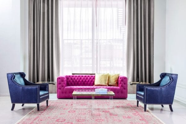Colorful living room seating