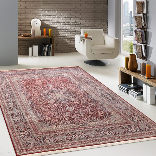 red silk area rug