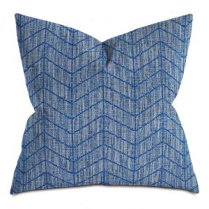 Blue Thin Herringbone Neutral Throw Pillow