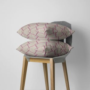Beige and Fuchsia Courtly Throw Pillow