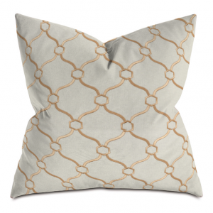 Beige and Wheat Courtly Throw Pillow