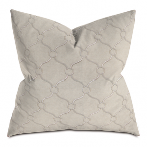 Beige and Gray Courtly Throw Pillow