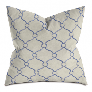 Beige and Blue Courtly Throw Pillow
