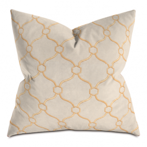 Beige and Orange Courtly Throw Pillow