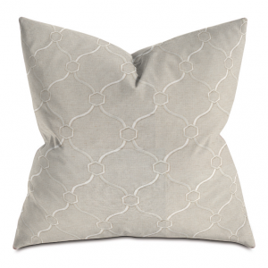 Beige and White Courtly Throw Pillow