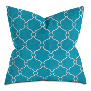 Blue and White Courtly Throw Pillow