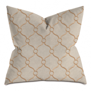 Camel and Gold Embroidered Throw Pillow