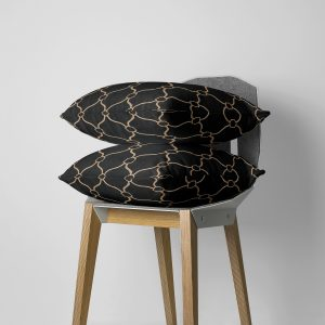 Black and Golden Courtly Throw Pillow