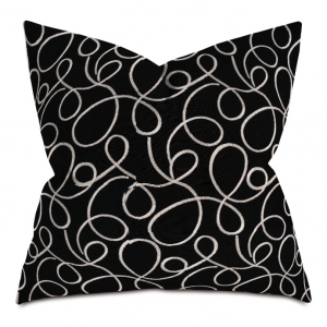 Black and White Circle Courtly Throw Pillow
