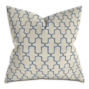 beige and blue cross embroidered throw pillow