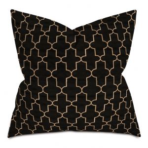 Black and Golden Cross Courtly Throw Pillow