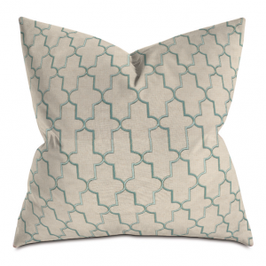 Beige and Green Cross Courtly Throw Pillows